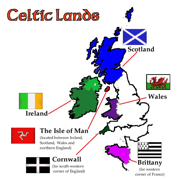 La musique celtique des régions maritimes de l'ouest de l'île de Grande Bretagne : le Pays de Galles,  la Cornouailles et l'île de Man