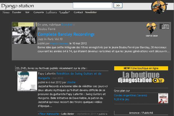 Djangostation : site dédié à Django Reinhardt et au jazz manouche